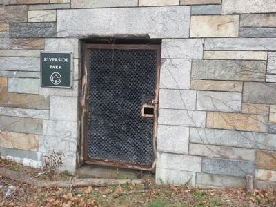 Front door of lower level facing the Henry Hudson Parkway