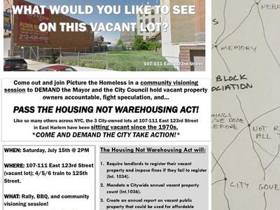Community visioning session TODAY by Picture the Homeless to support the HOUSING NOT WAREHOUSING ACT!