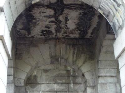 Closeup of an arched area.