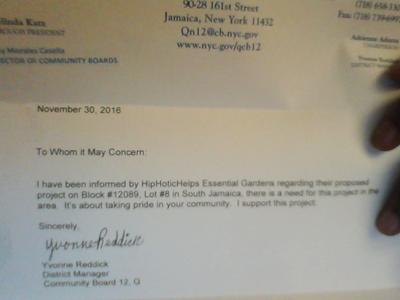 Community Board 12 Supports HipHoticHelps Essential Garden
